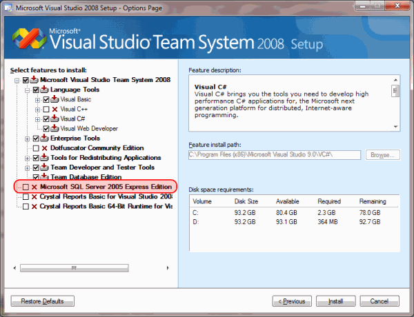 Visual Studio 2008 Installer Removing SQL Express