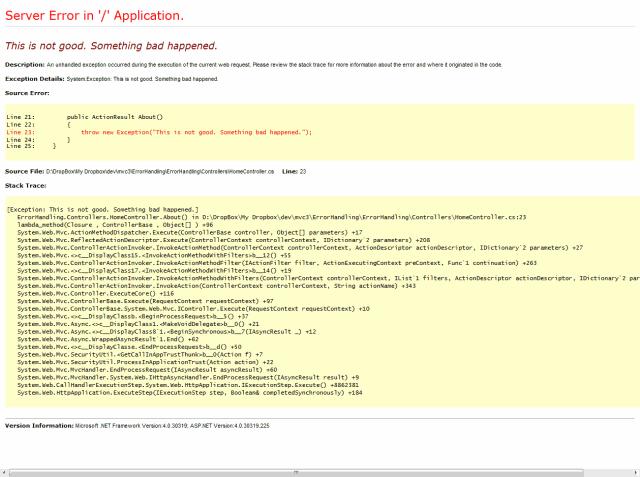 Error Handling - Without Custom Error