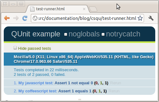 Test 	    runner with passing tests