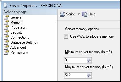 SQL Server 2005 memory options dialog