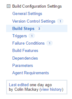 Build Configuration Settings sidebar
