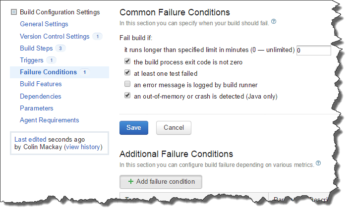 Failure Conditions section